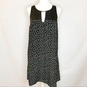 THML faux black leather and polka dot dress